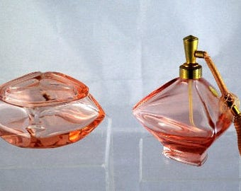 Vanity Set Vintage Powder Box with Lid Perfume Bottle with Atomizer Pink Glass