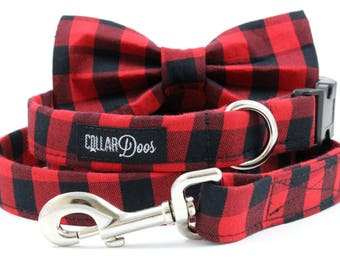 Red Black Buffalo Plaid Dog Collar Small Medium Large with Optional Bow Tie Accessory and Matching Leash 'Lumberjack'