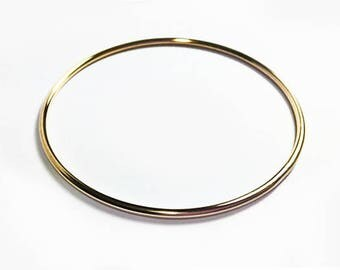 Solid 14K Gold Bangle - 2mm 12 gauge - Round Smooth or textured