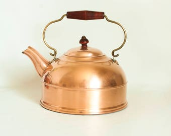 Vintage Revere Ware Solid Copper Kettle Teapot with Wood Handle, Pre-1968 Double Circle Logo, Rome NY