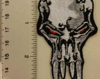 Vampire Skull Embroidered Patch, Skull Iron On Patch