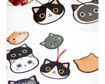 100 Pieces Paper Label Gift Tags Cat Wedding Party Favor with String Lovely Cat