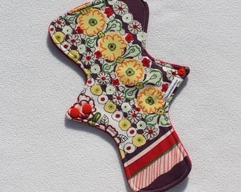 """Minky Topped. Reusable Modern Cloth Pad featuring a floral print (26cm/10.25"""")"""