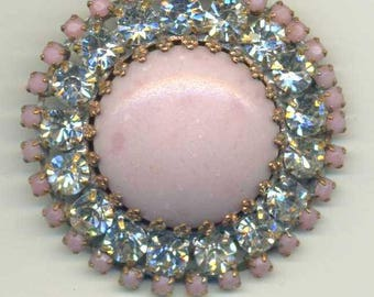 Strass, Czech glass rhinestone button - pink and clear and pink rhinestones - size 16, 36 mm RS 98