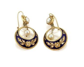20164 - Estate Pearl & Blue Enamel Floral Drop Dangle 14k Yellow Gold Earrings