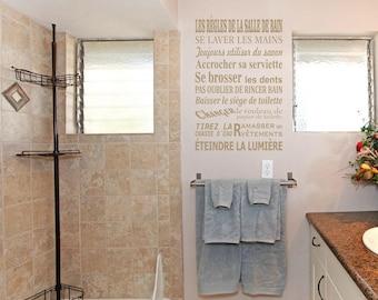 Wall decal bathroom rules. (2010n)