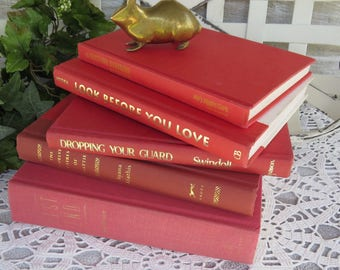 Red Book Stack - Vintage Book Instant Collection - Red Book Lot -Hardback Books for decorating