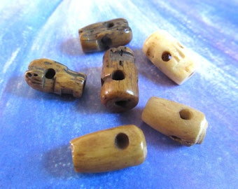 Brown Bone Skull, Carved Skull Beads, Skull bone charms, Assorted Goth Beads, Day of the Dead, Mix Color, 6 Pcs 07022
