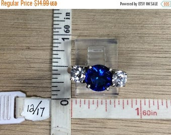 10% OFF 3 day sale Vintage 925 Sterling Silver 3.8g Ring Size 7 Deep Blue Clear Cz Used