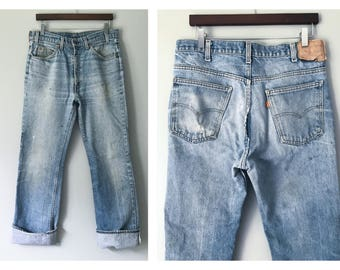 Orange Tab Levi's Jeans Heavily Distressed Trashed Thrashed Levis Whisker Washed Worn Blue Denim 34 Waist X 33 Inseam Boot Cut Straight Leg