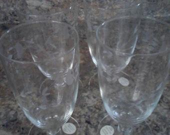 Set of 4 Crystal Princess House stemmmed glasses