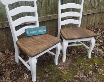 TWO Rustic Ladder Back Chairs Wood Malaysian Oak CHAIRS Solid Kitchen Dining Room Seat Seating