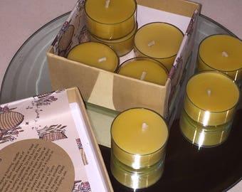 Bee wax Tea Lights x 40, British made, handmade, New Home , Natural Tea Lights, Candle, Amber, Pagan Tea Light