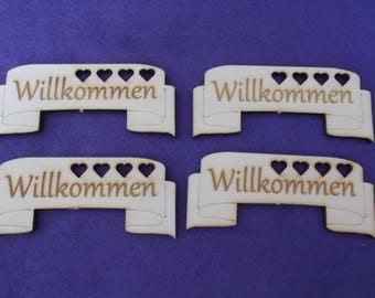 "4 Banners ""WELCOME"", wood, 9 x 3.5 cm (03-0011A)"