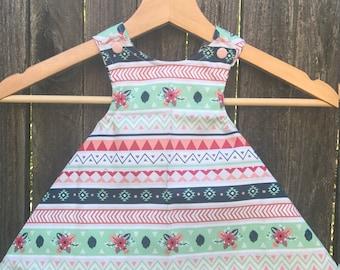 Reversible Cross back Swing Dress | Floral Aztec | 6-9mo