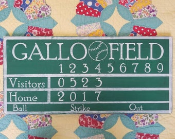 Personalized Baseball Scoreboard Sign. Man Cave. Custom Baseball Sign. Boys Room. Playroom. Nursery Sign. Vintage Sports Decor. Gift for Him