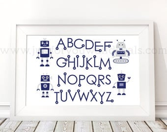 Robot Alphabet Poster - Nursery Wall Art, Robot Poster, Alphabet Wall Art, Alphabet Nursery Art, Alphabet Nursery, Nursery Art - 22-0039