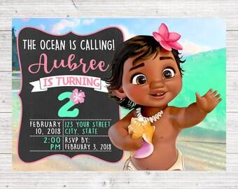 Baby Moana Invitation   Moana Girl Birthday   Hawaiian Birthday   Tropical Party   Moana Pua Thank You   *DIGITAL FILE*