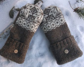 Cozy Sweater MIttens, brown and mittens, made from upcycled/recycled sweaters, fleece lined, warm, cozy
