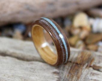 Walnut & Oak Wood Ring with Sand and Turquoise, Mens Wood Ring, Womens Wood Ring, Wood Engagement Ring, Beach Wedding Ring, Wooden Ring