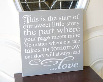 READY TO SHIP~~~    This is the start of our sweet little story the part where your page meets mine, 12x12 Solid Wood SigN