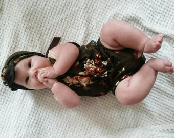 Baby girl romper,  baby girl clothes, headband, baby romper girl, Baby clothes set, floral Romper, 6-9 months,  baby outfit,