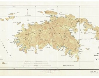 Saint John - 1934 Map Virgin Islands Topographical - NOAA - Atlantic Harbors 3241