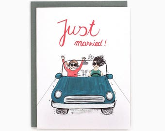Just married - convertible - mrs. and mrs. - lesbian wedding  / WED-CAR