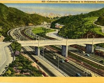 Cuhuegna Freeway Gateway to Hollywood California Vintage Postcard 1955