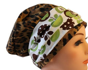 Scrub Hat Cap Chemo Bad Hair Day Hat  European BOHO Banded Pixie Tie Back Animal Print with Green Apple Band 2nd Item Ships FREE
