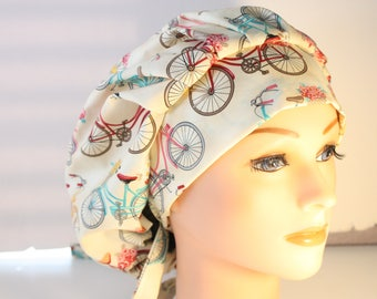 Scrub Cap Surgical Hat Chef   Dentist Hat Tie Back Bouffant Antique Bicycles Flowers 2nd Item Ships FREE