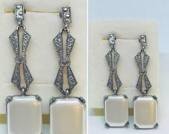 Vintage Earrings, Pierced Earrings, Pearl Earrings, Drop earrings