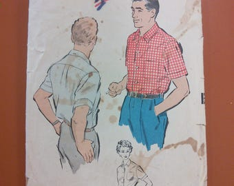 Advance 8842 Men's Sports Shirt Sew Easy Vintage Sewing Pattern 1950s 50s Size Medium 15 - 15 1/2