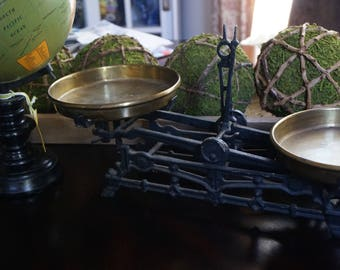 Vintage, Wrought Iron Balance Scale with Brass Trays