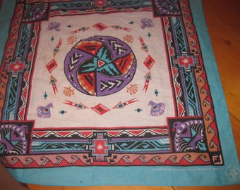 vtg aqua bandana made in the USA awesome vtg aztec southwestern bandana free ship