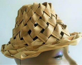 Vintage 50s woven palm leaf hat mid century Mad Men handmade