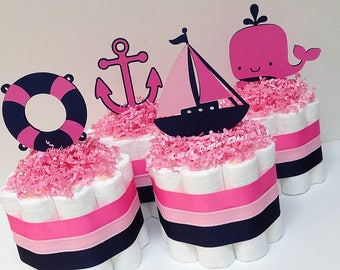 Hot Pink and Navy Blue Nautical Mini Diaper Cake Baby Shower Centerpiece