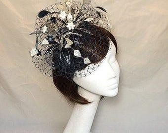 Navy Fascinator, Cream navy hat, Ascot Fascinator, Mother of the bride hat, unique fascinator