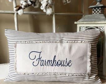 Farmhouse Pillow, Blue Ticking Pillow, Farmhouse Style Pillow, Modern Farmhouse Pillow, Blue striped pillow, Ticking fabric