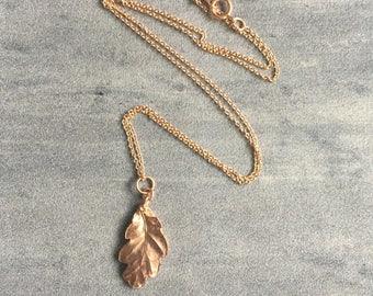 Rose gold oak leaf necklace, rose gold vermeil leaf necklace, christmas gift