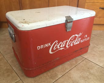 Original Vintage Coca Cola Ice Chest Cooler With Tray, Opener and Ice Pick