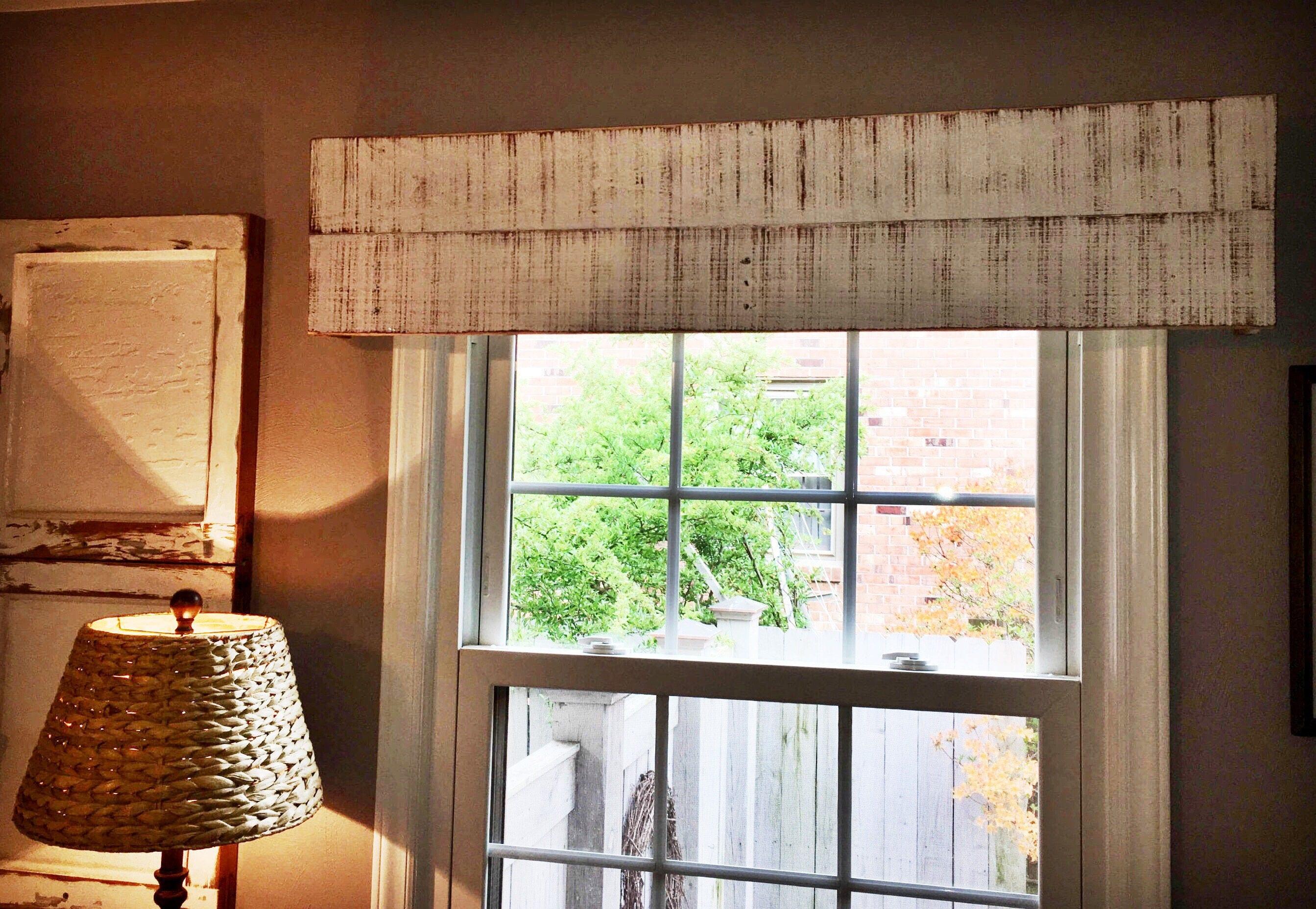 Rustic window trim styles - Handmade Window Valance 48 Custom Window Treatment Wooden Cornice Box