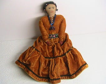 Doll, Vintage Doll, Primitive Ethnic Doll with Velvet Dress, Stuffed Doll, Seed Beads