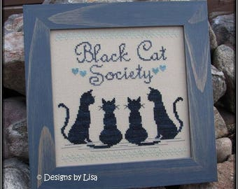 Black Cat Society Cross Stitch Pattern from Designs by Lisa