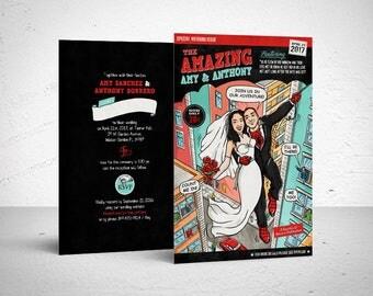 Printable Wedding Invitation / spiderman wedding, comic book wedding invitation, digital file, comic book wedding, custom couple
