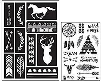 Art-C SOUTHWESTERN  Stamp & Adhesive Stencil set dream catcher stamp Horse stencil buck stencil deer stencil stamp 28835 cc02