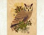 Great-Horned Owl Eco-Friendly Fine Art Wood Print
