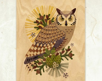 Great-Horned Owl Eco-Friendly Fine Art Wood Print