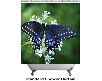 Butterfly Shower Curtain, Ethereal Shower Decor, Nature Bathroom Decor, Designer Shower Decor, Printed Shower Curtain, Swallowtail Bathroom