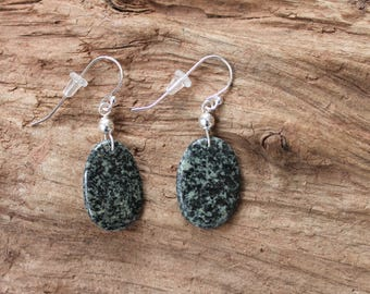 Sterling silver and Lake Superior rock earrings, dangle earrings, beach stone jewelry, Valentine gift, birthday, anniversary, rock collector